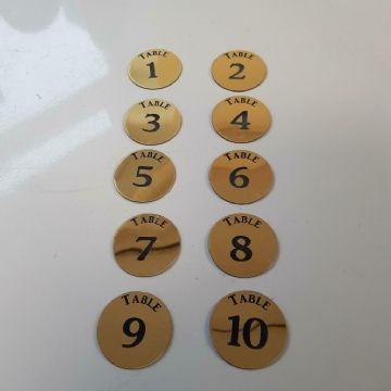 10 Engraved Self Adhesive Table Numbers in Gold or Silver